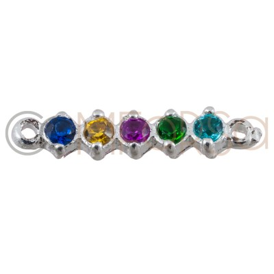 Sterling silver 925 gold-plated connector with colourful zirconias 2.5 x 11 mm