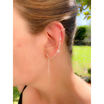 Sterling silver 925 ear cuff with chain and zirconias 11 mm