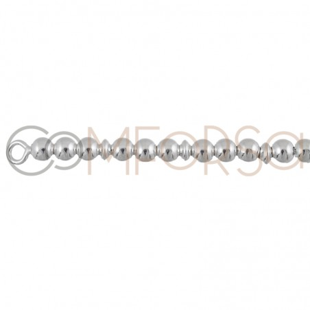 Ball bracelet with disc 4 mm 18 cm sterling silver 925