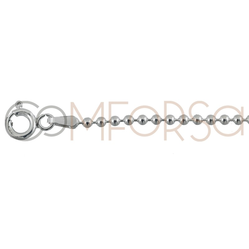 Sterling silver 925 beaded chain 2mm