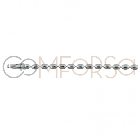 Sterling silver 925 faceted beads chain 2 x 1.5 mm