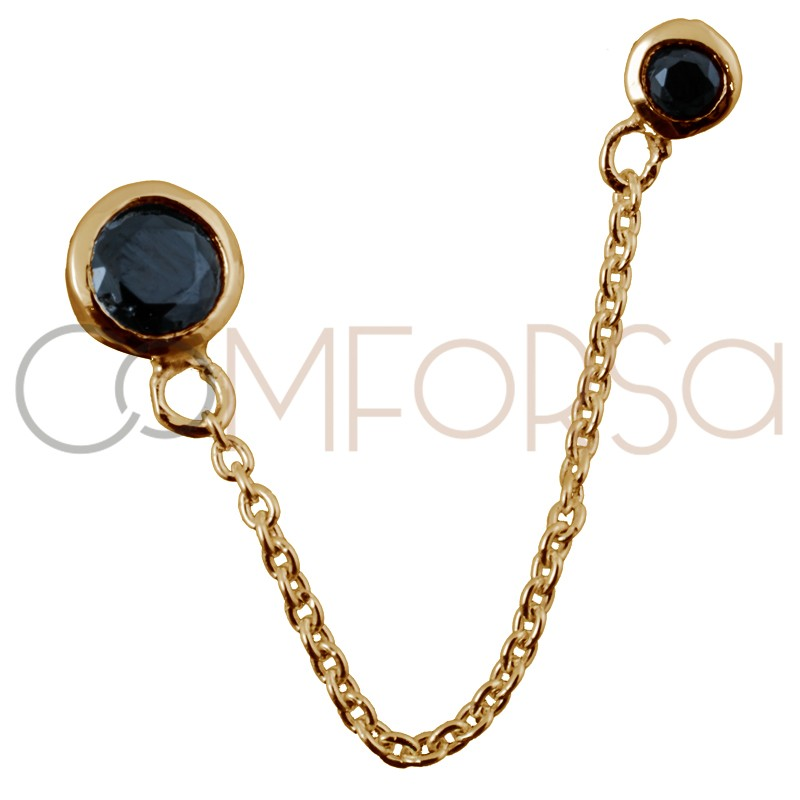 Sterling silver 925 gold-plated earring with double chatons with black zirconias