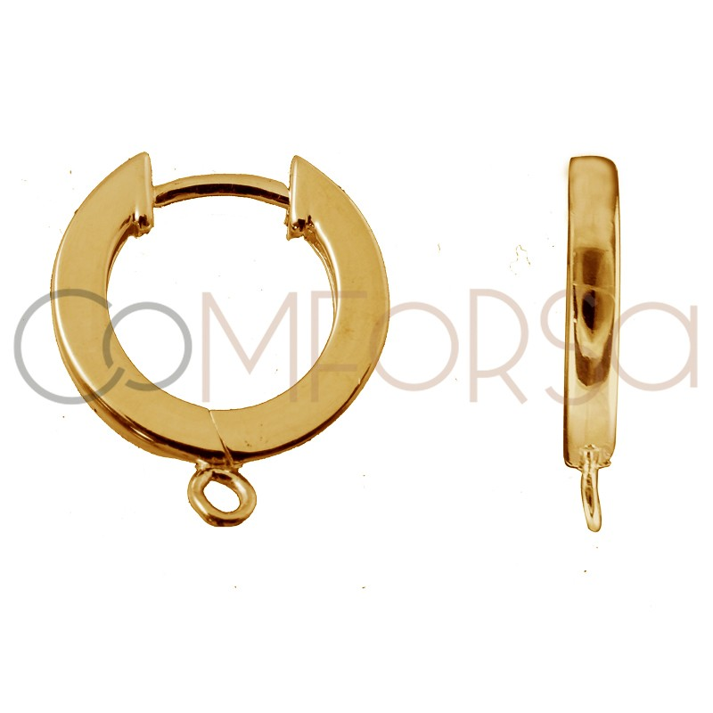 Sterling silver 925 gold-plated hoop earring with jumpring 11 mm