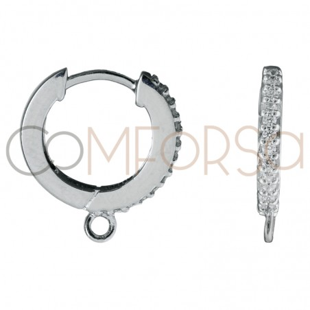 Sterling silver 925 hoop earring with zirconias and jumpring 11 mm