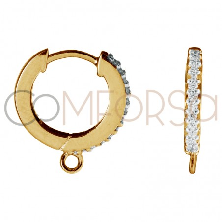 Sterling silver 925 gold-palted hoop earring with zirconias and jumpring 11 mm