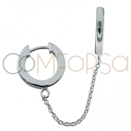 Pendiente doble aro 11mm con cadena plata 925