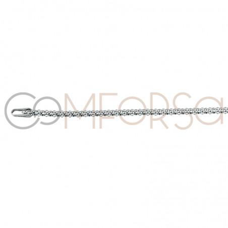 Rhodium-plated sterling silver 925 Korean chain 1.9 mm