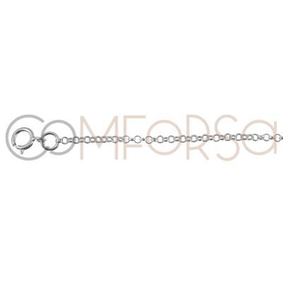 Cadena rolo 40cm con alargador 6 cm plata chapada oro