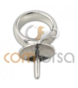 Sterling silver pendant cup with peg 7 mm