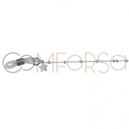 Sterling silver 925 glasses chain with little beads and star
