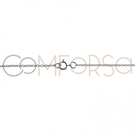 Rhodium plated Sterling silver 925ml forçat chain with central jump rings 40cm