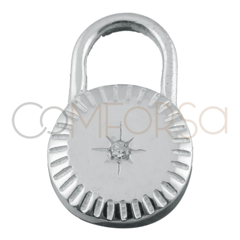 Sterling silver 925 lock pendant with polar star and zirconia 10 mm