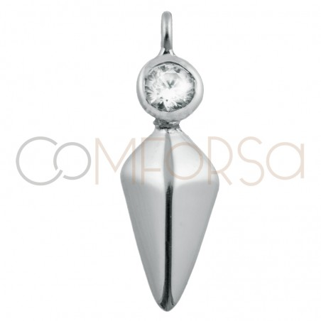 Sterling silver 925 spike with zirconia pendant 10 x 7 mm