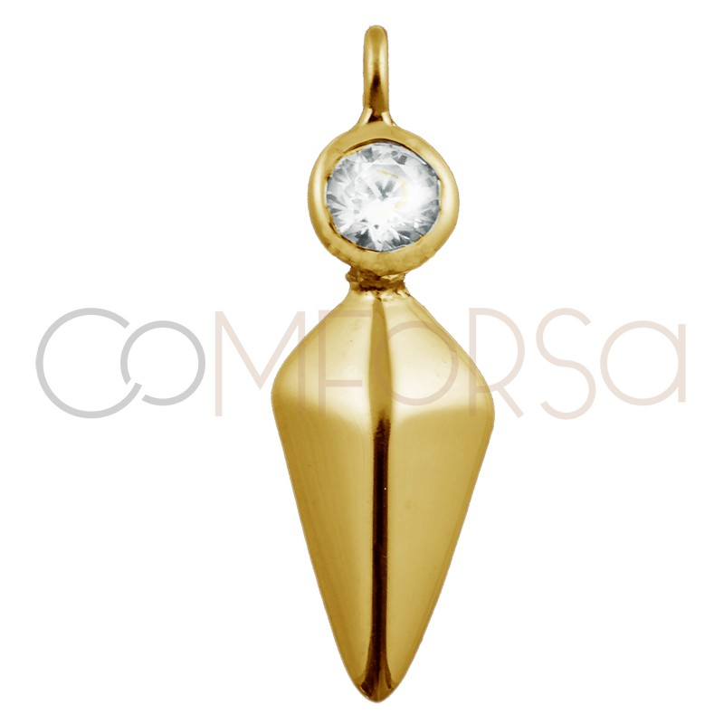 Sterling silver 925 gold-plated spike with zirconia pendant 10 x 7 mm