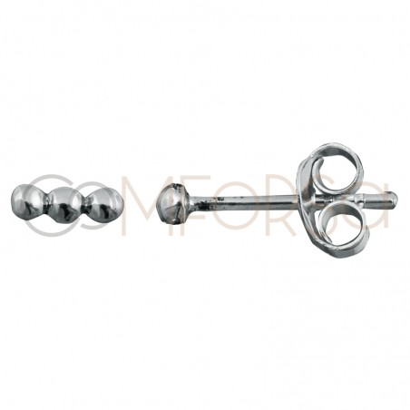 Pendiente mini barra bolitas 6mm plata 925