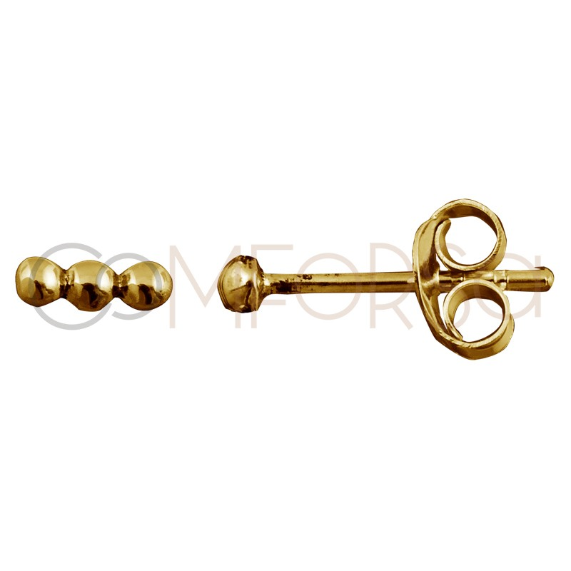 Sterling silver 925 gold-plated bar earring with 3 little balls 6 mm