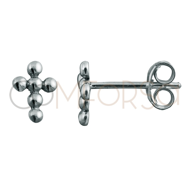 Sterling silver 925 mini cross earring with little balls 8 x 6mm