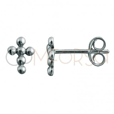 Pendiente mini cruz bolitas 8 x 6mm plata 925