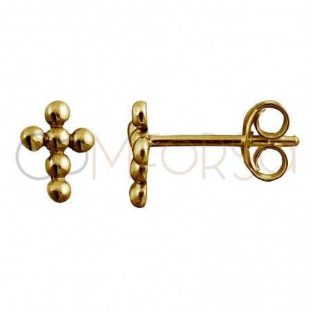 Sterling silver 925 gold-plated cross with little balls 8 x 6 mm