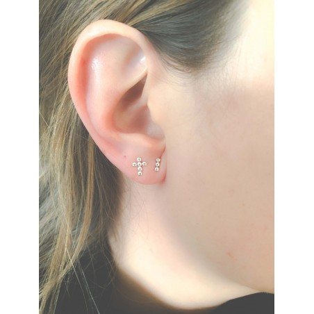 Sterling silver 925 bar earring with 3 little balls 6 mm