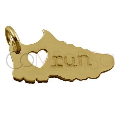 "Colgante deportiva ""Love Run"" 17 x 6mm plata chapada dorada"