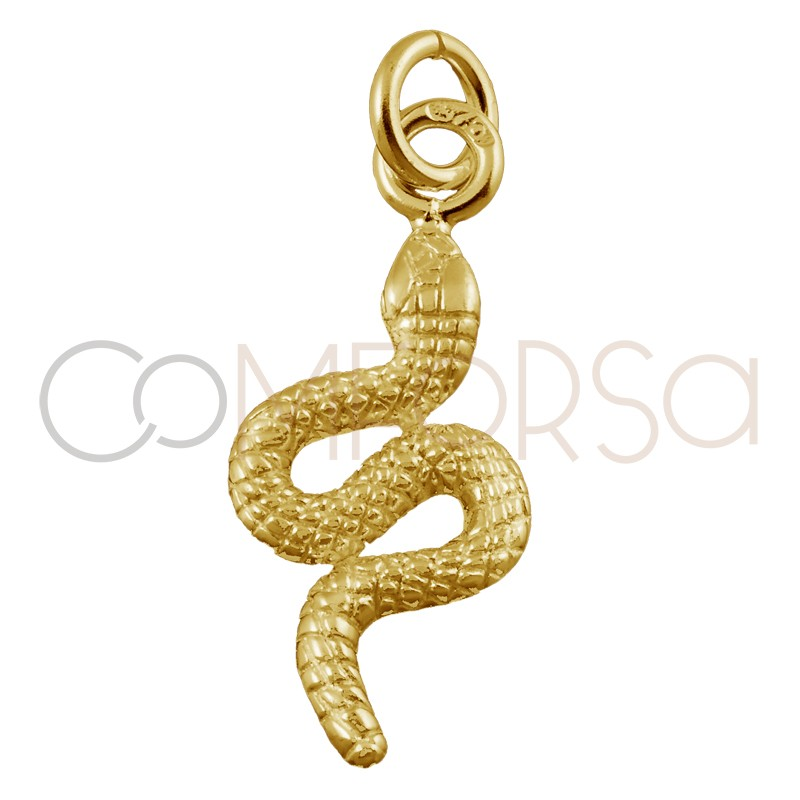 Sterling silver 925 gold-plated snake pendant 16 x 8 mm