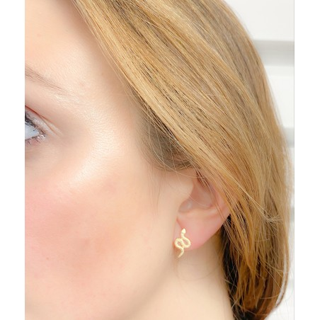 Sterling silver 925 gold-plated earring 8 x 16 mm