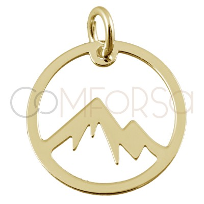 Sterling silver 925 mountain round pendant 15 mm
