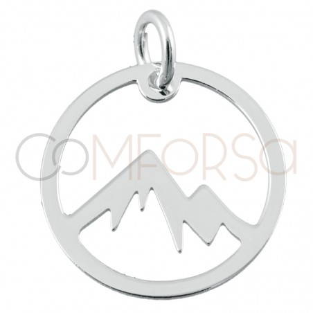 Sterling silver 925 gold-plated mountain round pendant 15 mm