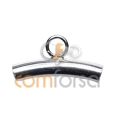 Sterling silver 925 curved tube with ring 3.2x 20 mm
