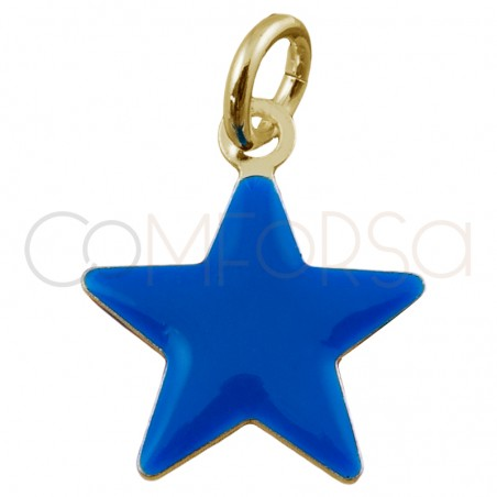 """Sterling silver 925 star pendant """"Classic Blue"""" 8 x 6 mm"""