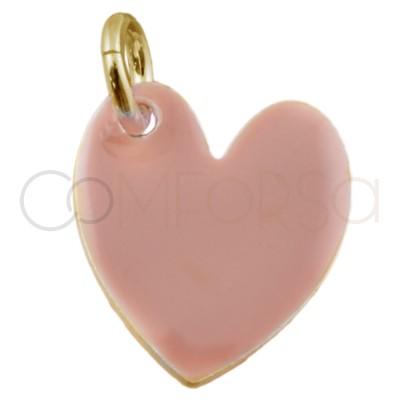 Colgante corazón esmalte en rosa palo o nude de plata chapada en oro con un tamaño de 10 x 12 mm