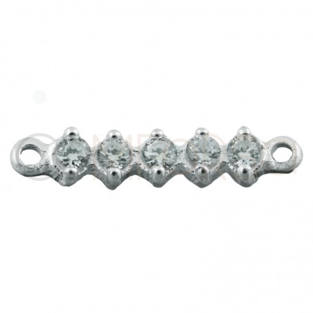 Sterling silver 925 connector with white zirconias 2.5 x 11 mm