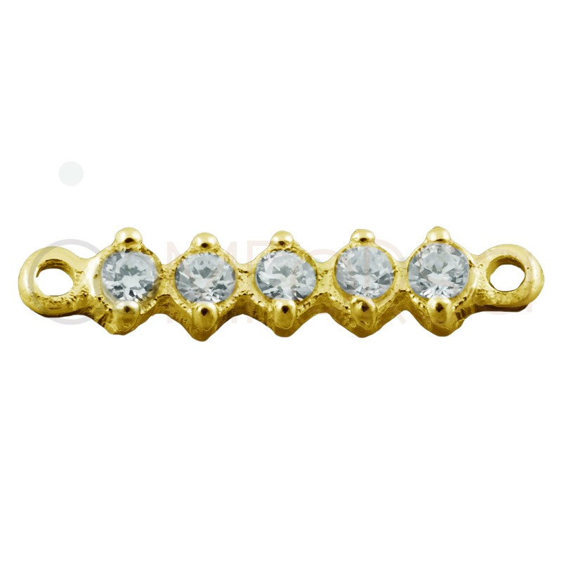 Sterling silver 925 gold-plated connector with white zirconias 2.5 x 11 mm