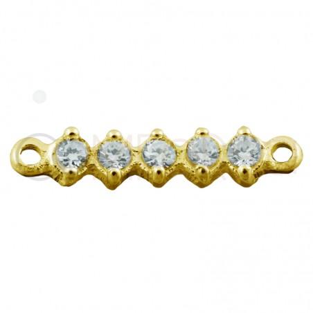 Entrepieza de plata de chapada en oro para pulsera o collar alargada con cinco circonitas