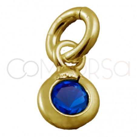 """mini colgante de 3 mm con circonita azul o """"sapphire"""" de plata bañado en oro"""