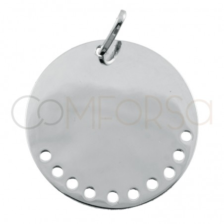 Sterling silver 925 pendant with holes 20 mm