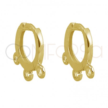 Sterling silver 925 gold-plated hoop earring with 3 open jumprings 12mm