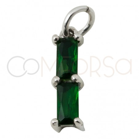 """Sterling silver 925 gold-plated rectangular pendant with double zirconia in """"Emerald"""" 2 x 10 mm"""