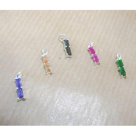 "Mini colgante rectangular doble circonita ""Emerald"" 2 x 10 mm plata chapada en oro"