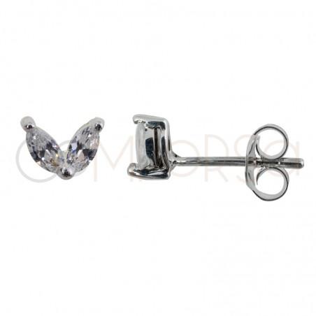 Mini pendiente de plata de ley con 2 circonitas ovaladas en color cristal