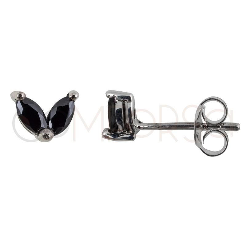 Mini pendiente de plata de ley con 2 circonitas ovaladas en color negro