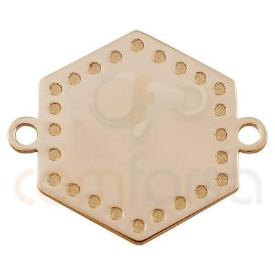 entrepieza chapa hexágono con puntos 15 mm plata chapada en oro