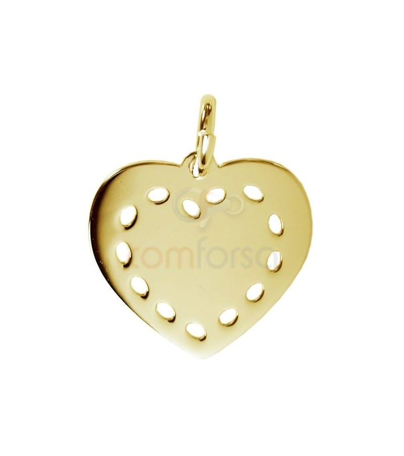 Colgante corazón 13 x 12 mm plata chapada en oro