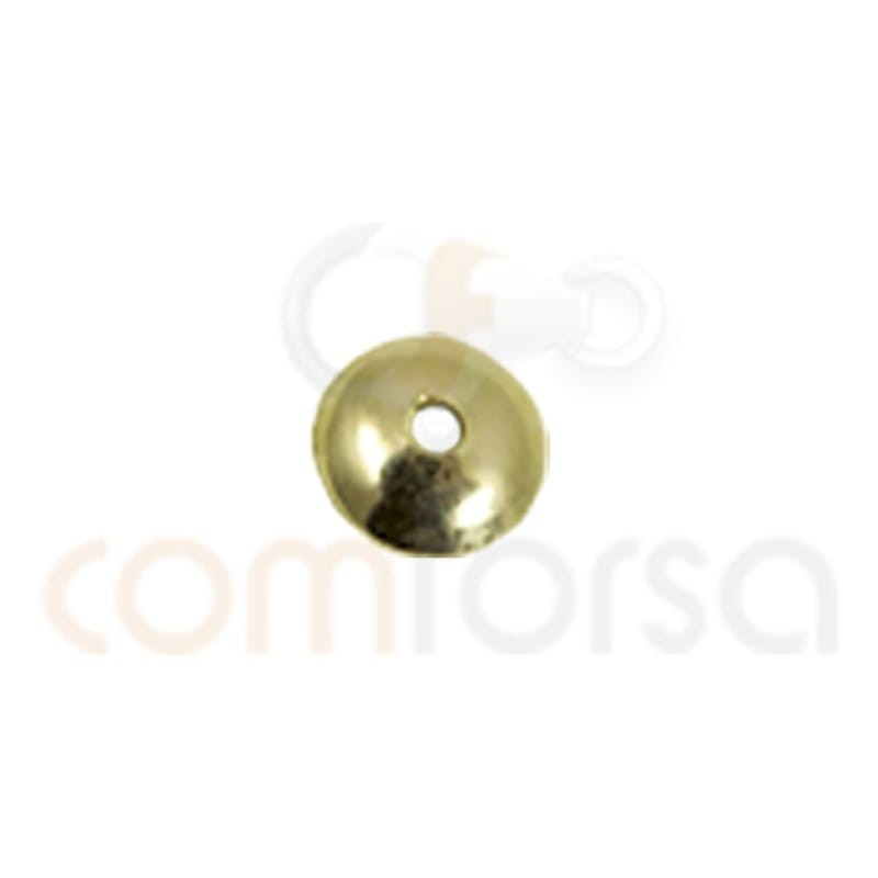 Sterling silver 925 gold-plated plain cap 6 mm