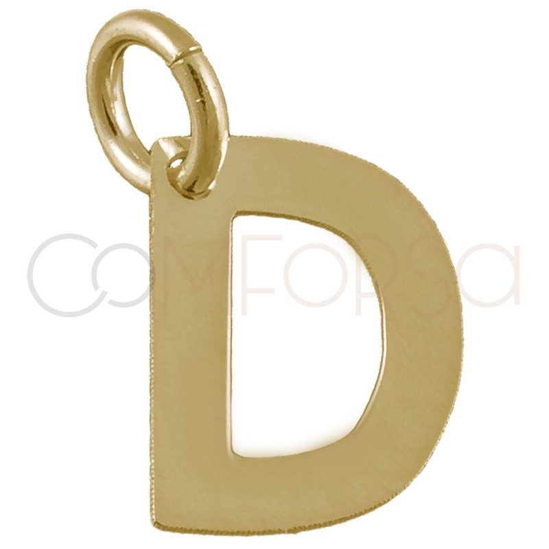 Sterling silver 925 gold-plated letter D pendant 6 x8mm
