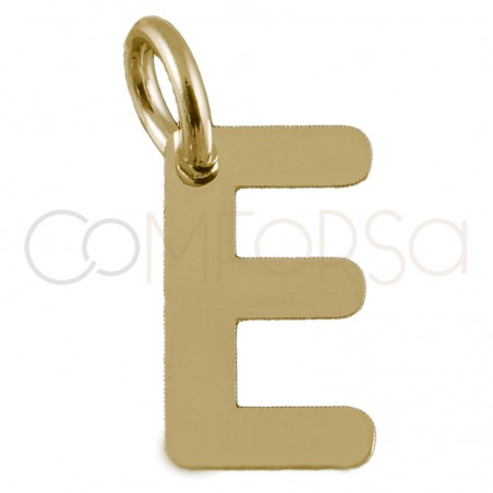 Sterling silver 925 gold-plated letter E pendant 4.7x8mm