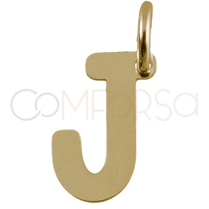 Sterling silver 925 gold-plated letter J pendant 4.5x8mm