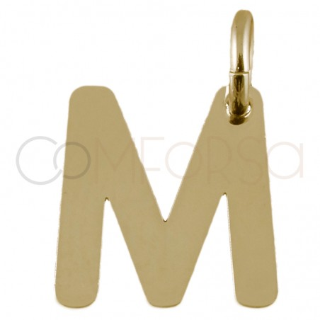 Sterling silver 925 gold-plated letter M pendant 7.6x8mm
