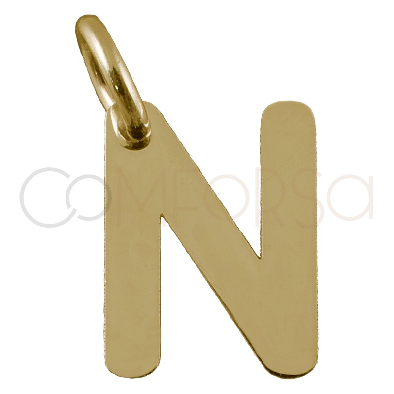 Sterling silver 925 gold-plated letter N pendant 5.8x8mm